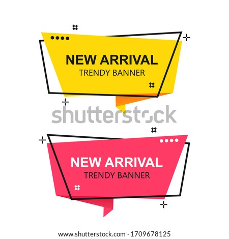 Flat linear promotion ribbon banner, Set of trendy flat geometric vector banners. scroll, price tag, sticker, badge, poster..vector design