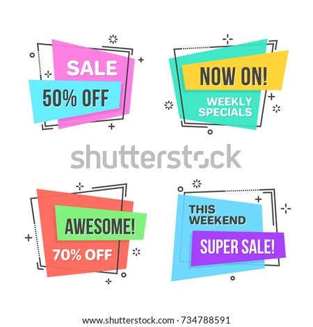 Flat linear promotion sticker, scroll, price tag, sticker, badge. Vector illustration set
