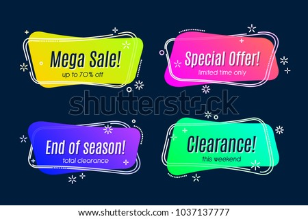 Flat linear promotion vivid banner, scroll, price tag, sticker, badge, poster. Vector illustration