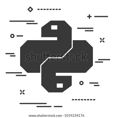 Flat linear python code icon. Trendy snake vector symbol for web site development or button to mobile app.