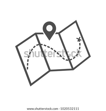 Flat location icon, map icon. Vector Map with Label Icon. Map with a pin isolated on white. Treasure map