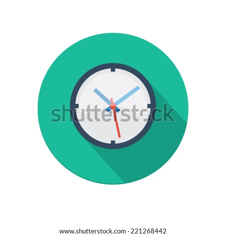 Flat long shadow clock icon isolated on white background