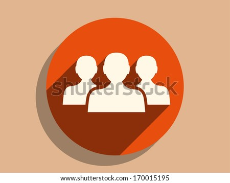 Flat long shadow icon of team work