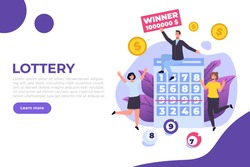 Flat lottery or Bingo, Gambling business concept. Tiny winner people. Vector illustration.