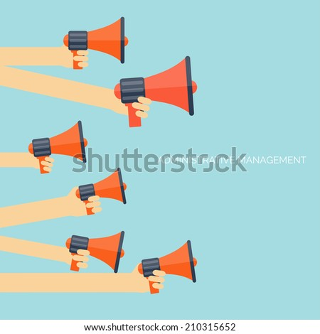 Flat loudspeaker icon. Administrative management concept. Global communication and social media.