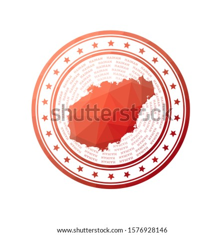 Flat low poly stamp of Hainan. Polygonal Hainan badge. Trendy vector logo of the island.