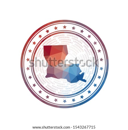Flat low poly stamp of Louisiana. Polygonal Louisiana badge. Trendy vector logo of the us state.