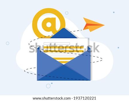 Flat mail sending with rocket concept vector illustration design