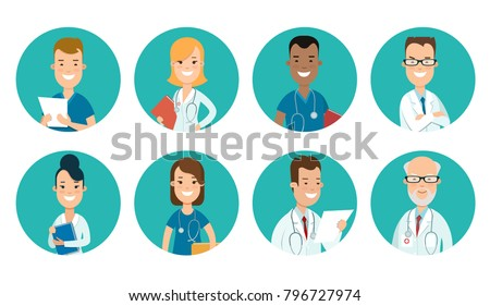 Flat male and female doctors healthcare vector illustration people cartoon avatar profile characters icon set. Health care hospital medical staff: doctor, nurse. Professional medicine team concept.