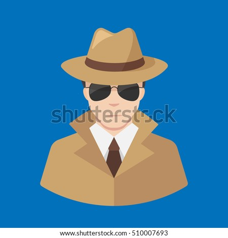 Flat male Detective icon vector - Professions icons.