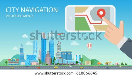 Flat male hand on smartphone screen pushing GEO mark on map, Buildings and skyscrapers cityscape, with road and sky nature background vector illustration. City navigation, Smart mobile app concept.