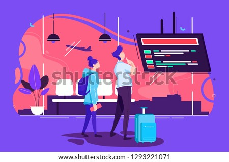 Flat man and woman couple in airport waiting for flight. Concept flight is delayed, trip and date characters. Vector illustration.