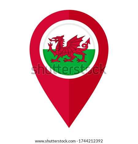 flat map marker icon with wales