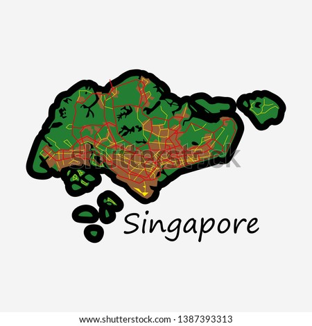 Flat Map of Singapore map, singapore, asia, cartography, country, geography,