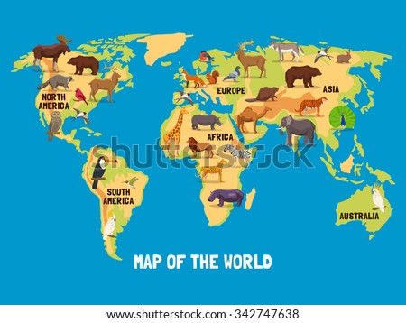 Continent Map Collection Download Free Vector Art Stock - Different continents of the world