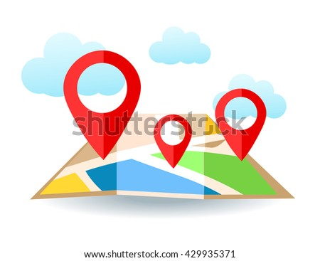 Flat map with pins. Vector location pointer icon. Markers on the Map. #429935371