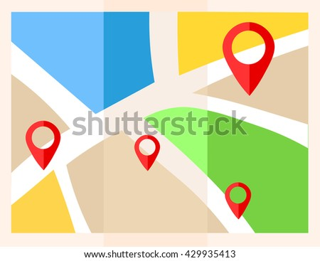 flat map with pins vector