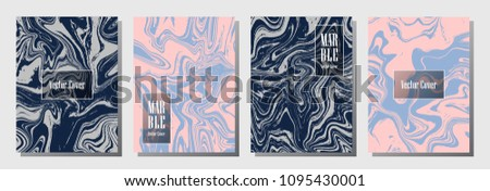 Flat marble pattern binder cover layout, journal design template vector set. Marble background patterns set for binder design, journal layout template, brochure cover. Minimalist vector graphic