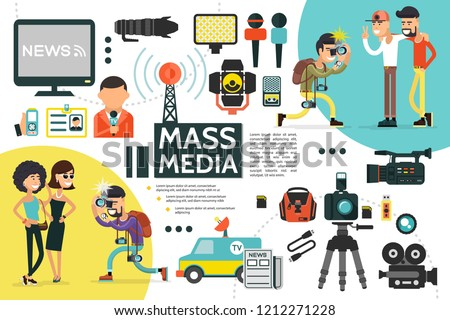 Flat mass media infographic template with reporter id card microphones news car cameras dictaphone newspaper uniform paparazzi photographing people vector illustration