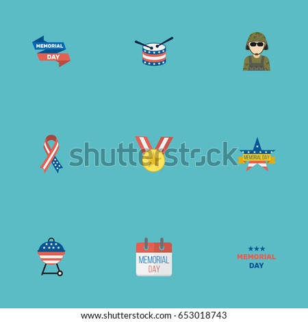 Flat Medallion, Ribbon, Barbecue And Other Vector Elements. Set Of History Flat Symbols Also Includes Awareness, Medal, Usa Objects.