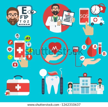 Flat medical icons concept set of medical supplies, healthcare diagnosis and treatment, laboratory tests, medicines and equipment. Vector concept for graphic and web design