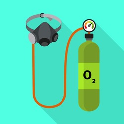 Flat medical oxygen cylinder vector icon. Illustration of flat medical oxygen cylinder vector icon for web design