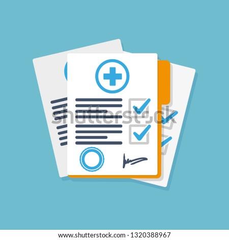 Flat medical report. Vector illustration. #1320388967