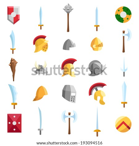 stock-vector-flat-medieval-icons-1930945
