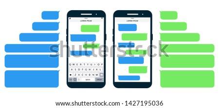 Flat Messages Bubbles.  Messages on screen Phone flat design. Short Message Service Bubbles