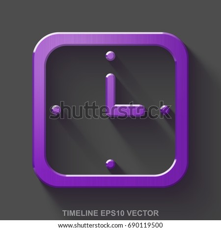 flat metallic time 3d icon