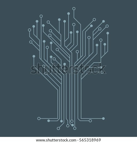 Flat Microelectronics Circuits. Blue circuit board vector background.