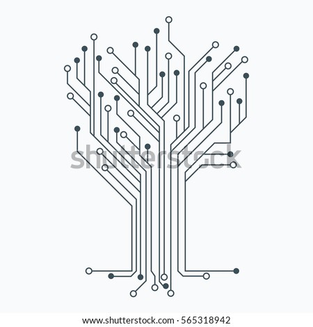 Flat Microelectronics Circuits. Circuit board vector, white background.