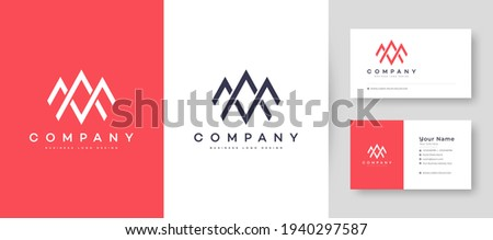 Flat minimal Crown Initial A, MA, and AM Logo With Premium Business Card Design Vector Template for Your Company Business Stok fotoğraf ©