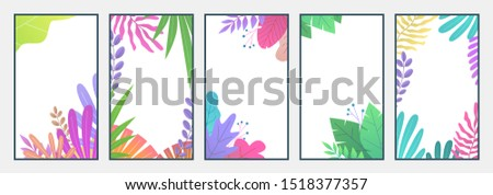 Flat minimal landscape. Cell phone botanic wallpapers with copy text space and leaves for social media stories. Smartphone vector cover leaf minimalism garden compositions backgrounds