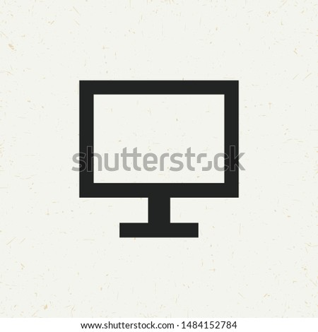 Flat minimal monitor icon. Simple vector monitor icon. Isolated monitor icon for various projects.