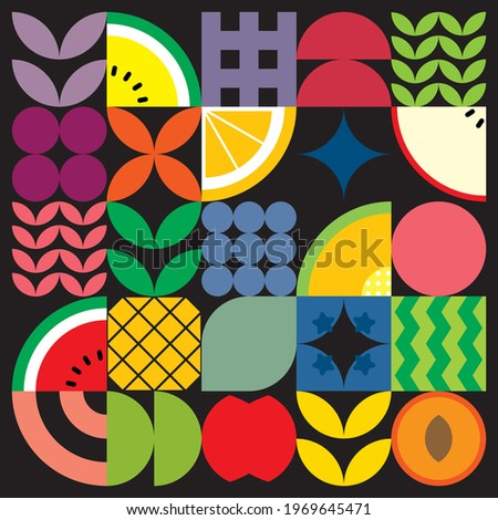 Flat minimalist geometric fruit and leaf artwork poster with colorful simple shapes. Abstract vector pattern design in Scandinavian style for branding, web banners, background or wallpapers.