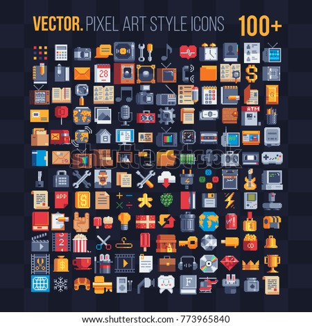 Flat, mobile apps icons. Pixel art  icons set. Office stationery. Internet technology. Gallery of films. Design applications. 8-bit. Game assets. Isolated retro pixel art vector illustrations set.