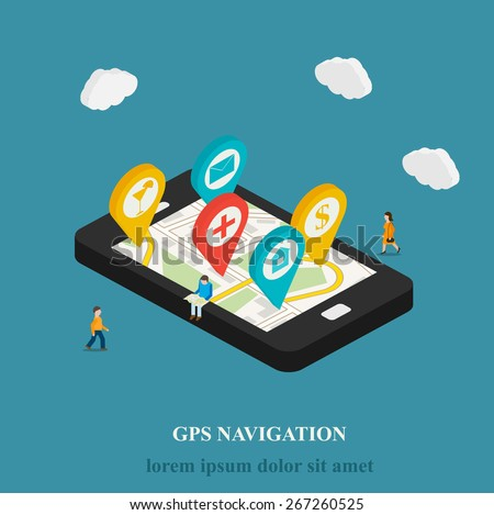 Flat mobile GPS navigation isometric concept. 3D smartphone with street map and pins. Micro people searching objects on map,  vector illustration