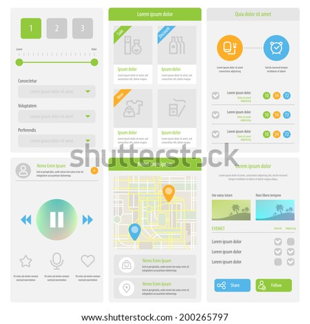 Flat Mobile UI Design. Set of flat web elements, icons and buttons for mobile app and web design. Vector eps 10.