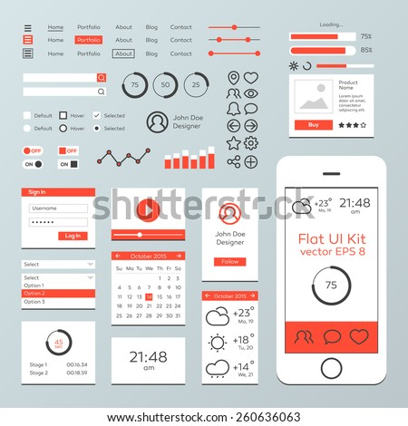 Flat Mobile Web UI Kit