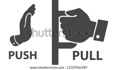 Flat modern black push and pull icon on white background.