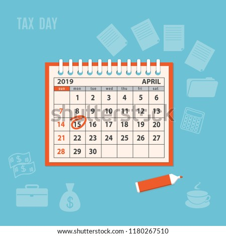 Flat modern business concept of tax day, payments time, tax time with marked number 15 of the April page of the calendar 2019 year. Mockup of the spiral desk calendar. EPS 10