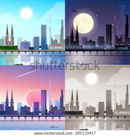 flat modern city scape historic