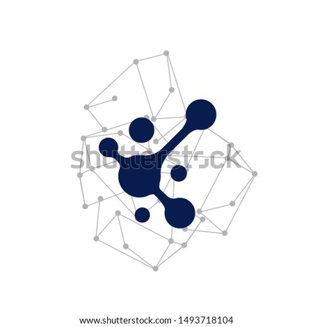 Flat Modern Connection Dots Logo design vector illustration Technology abstract dot connection cross icon ストックフォト ©
