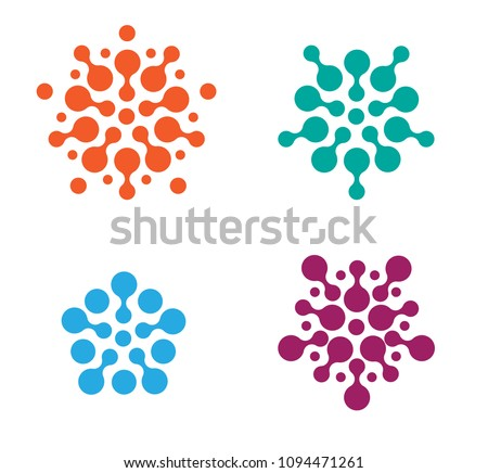 Flat Modern Connection Dots Logo Icon Emblem Set