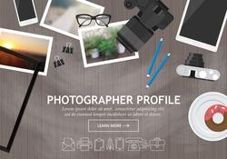 Flat modern design concept for photographer profile website banner