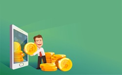 Flat modern design concept of crypto currency technology, bitcoin exchange, mobile banking. Businessman pulling out of smartphone bitcoins and dollars