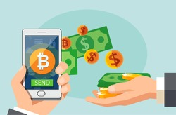 Flat modern design concept of cryptocurrency technology, bitcoin exchange, mobile banking. Hand holding smartphone with bitcoin and dollars coming out.