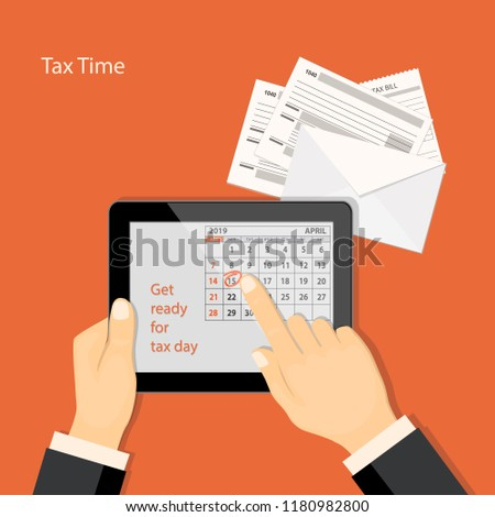 Flat modern design concept of tax day, taxes counting time with human finger showing at the date 15 april of the calendar 2019 year in the tablet.  EPS 10