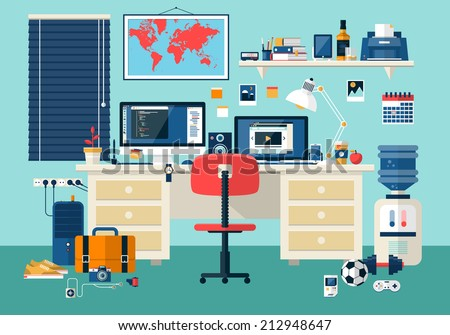 Free Flat Design Vector Office Room Illustration - Download Free ...